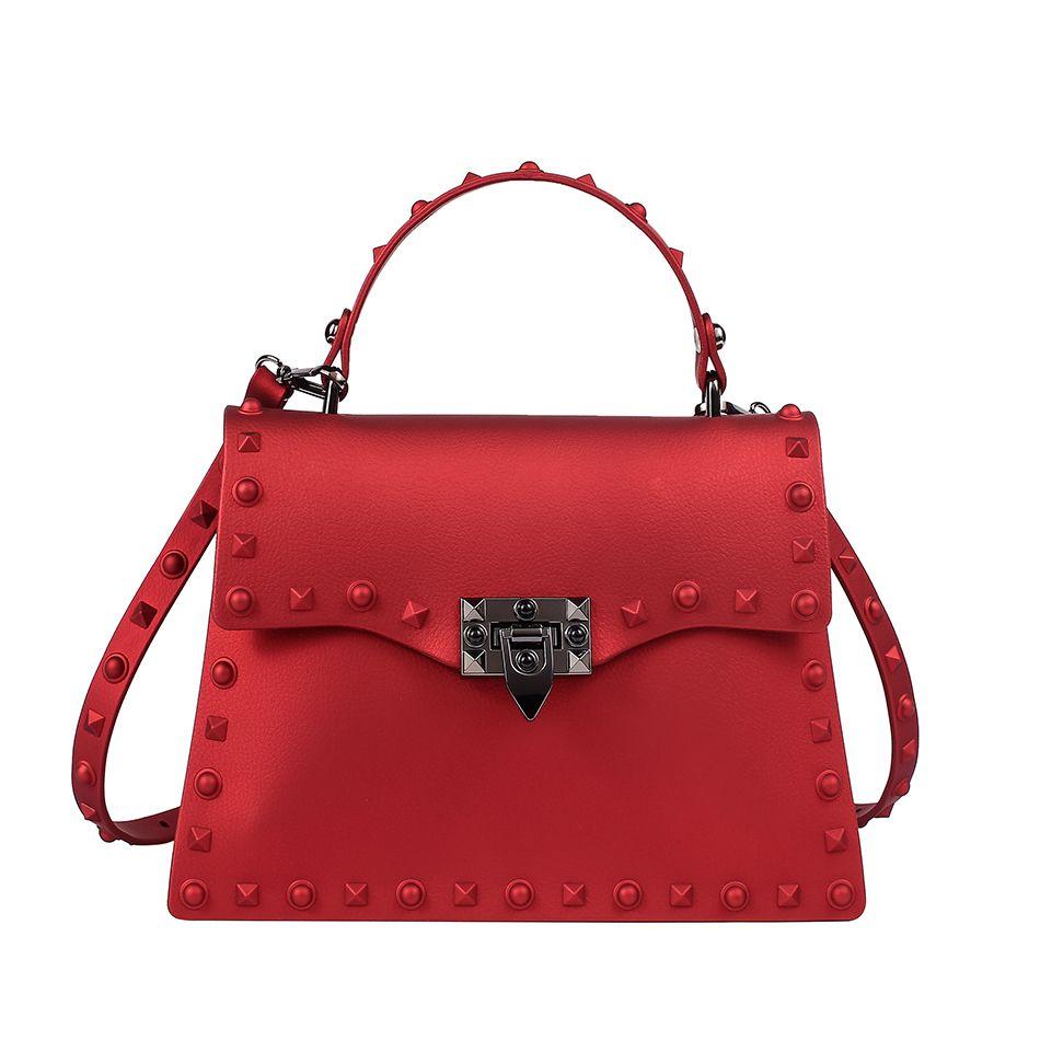 dc79338a6743 SUNNY BEACH Brand Luxury Rivets Handbags Women Matte Jelly Stud Tote  Designer Purse Bolsa Female Messenger Bag Y18102304 Handbags Wholesale  Leather Purse ...