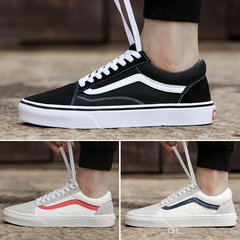 aa052c9fd7e8 2019 2018 New Athentic Vans Classic Old Skool Canvas Mens Skateboard  Designer Sports Running Shoes For Men Sneakers Women Casual Trainers From  ...