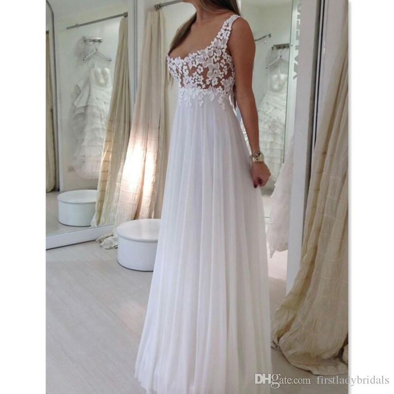 2018 Simple Empire Wedding Dresses Straps Cheap Scoop Neck