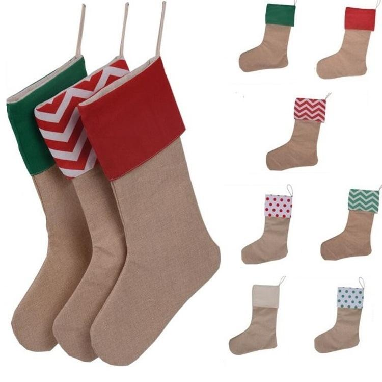 New 12*18inch New high quality canvas Christmas stocking gift bags Xmas stocking Christmas decorative socks bags
