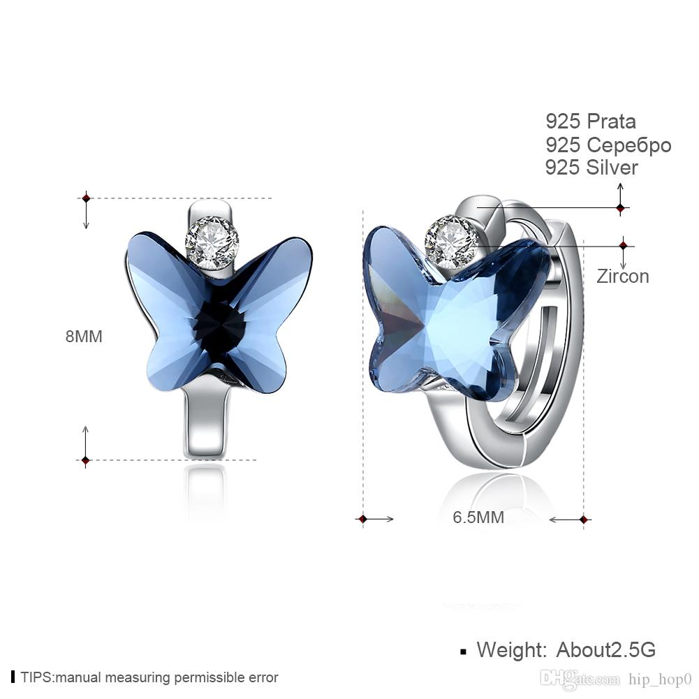 Pure 925 Sterling Silver Blue Butterfly Creole Hoop Earrings for Women Gift Crystal Fine Jewelry Silver Color Accessories Party Brincos Gift