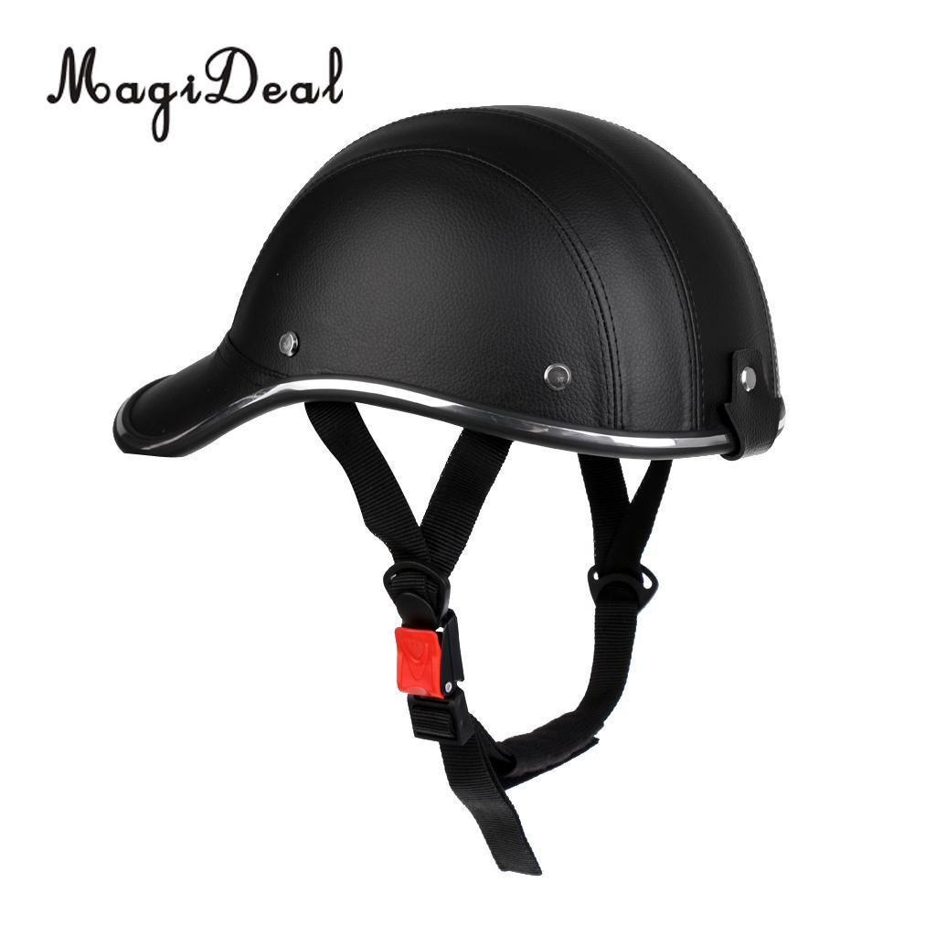 PU Leather Baseball Cap Hat Safety Helmet for Riding Cycling Bicycle Motorcycle