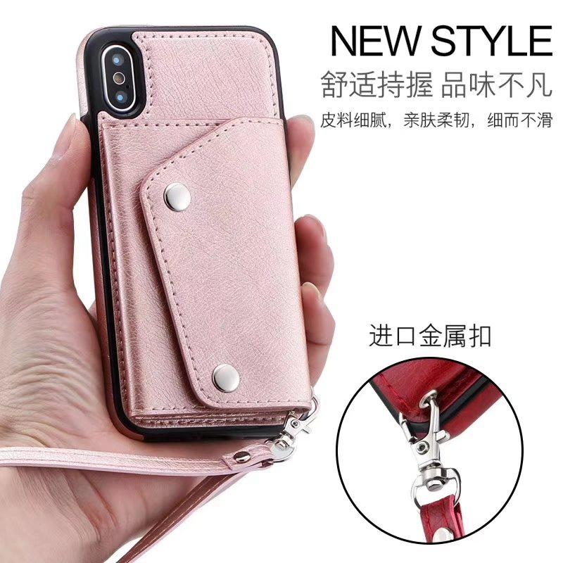 Wallet ID Card Slot Leather For Iphone 11 2019 XR XS MAX X 8 7 6 Galaxy S20 Note 10 Pro 9 S9 Box Cash Back Case Magnetic Cover+Strap Deluxe