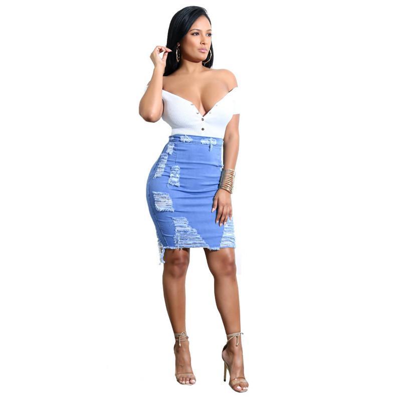 ad0163613bc5e Compre Las Mujeres Del Verano Flaco Cintura Alta Lápiz Faldas Sexy Agujero  Borla Jeans Faldas Cielo Azul Elástico Falda De Mezclilla Casual A  25.51  Del ...