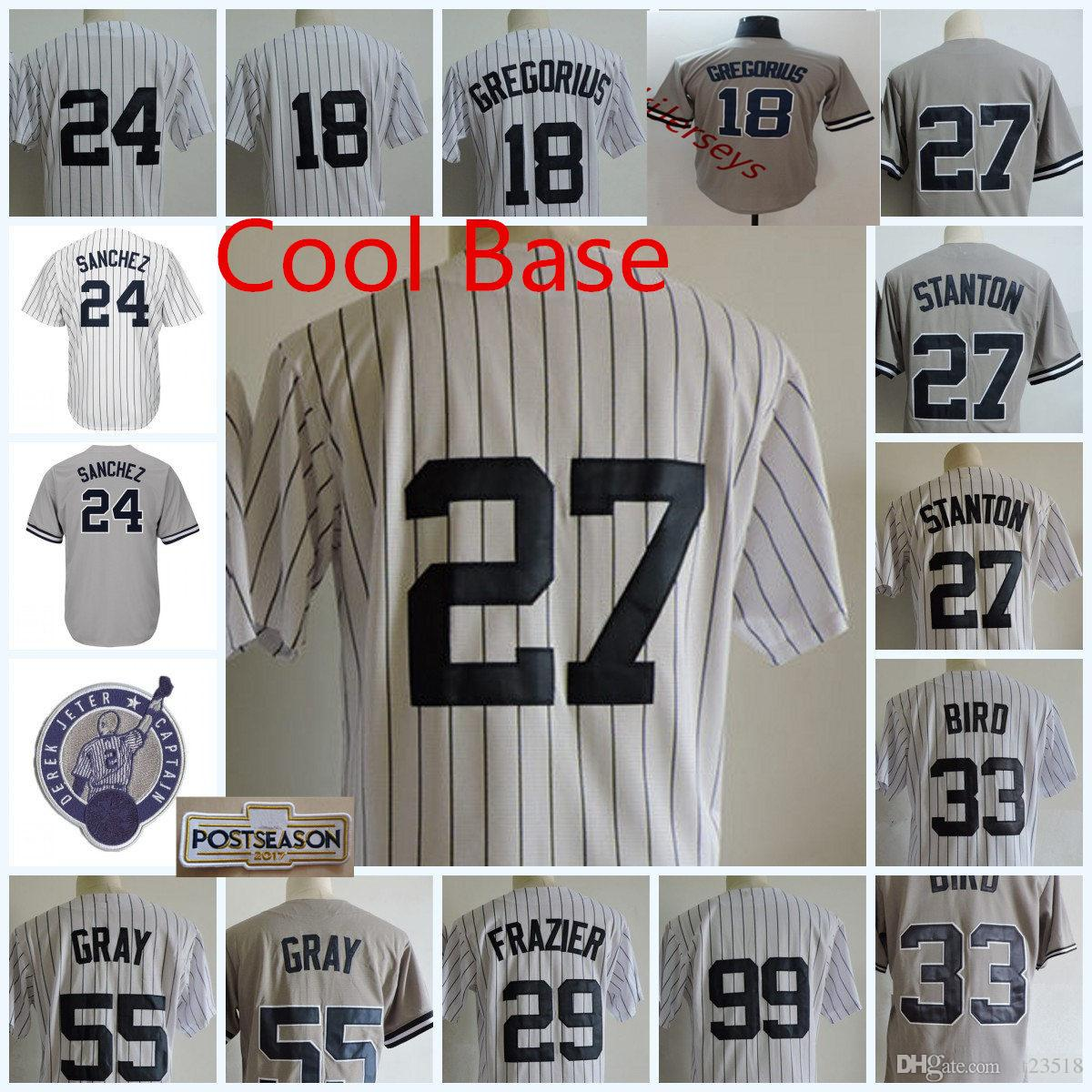 54609e601 Mens New York Sonny Gray Jerseys Stitched Todd Frazier Greg Bird Giancarlo  Stanton Didi Gregorius Gary Sanchez Chapman Cool Base Jerseys S-3 Gary  Sanchez ...