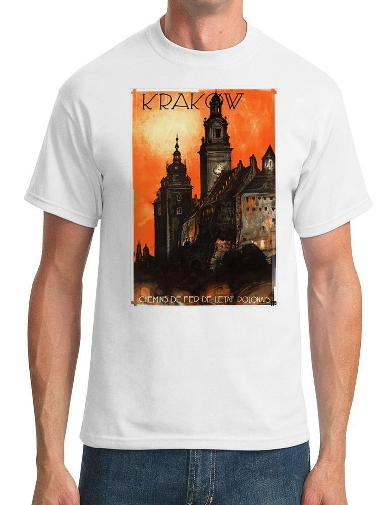 Vintage Poster Of Krakow Poland - Mens T-Shirt For Male/Boy Tshirt Print Tee Shirts Printed T Shirt Short Sleeve Men