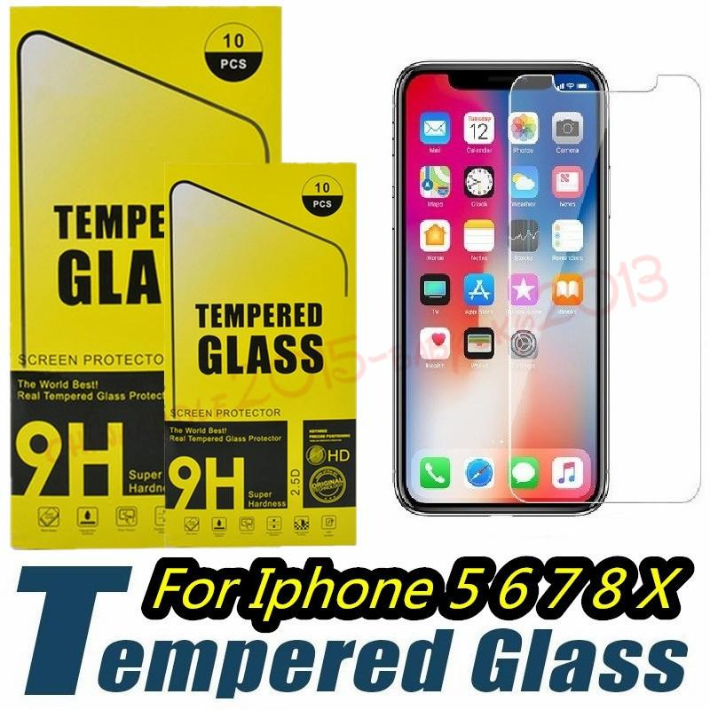 Tempered Glass Screen Protector Film Guard 9H Hardness Explosion Film for iphone 5 6 7 8 Plus X XR XS Max Samsung Galaxy S6 s7 s8 s9 htc and