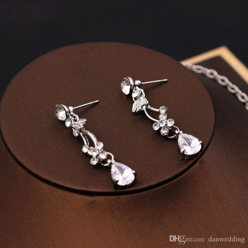 Beleza 2 peça colar brincos casamento nupcial jóias colar de noiva J612002
