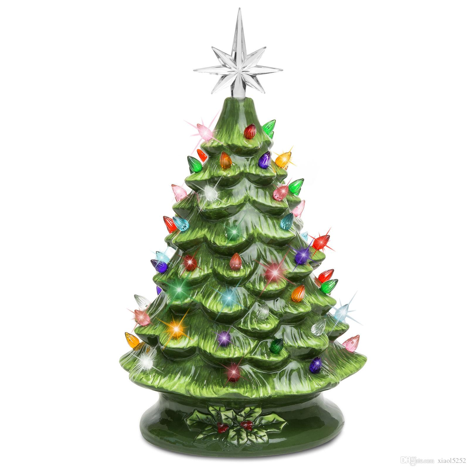 bcp 15in pre lit ceramic tabletop christmas tree w 50 lights green holiday decorating holiday decoration from xiaol5252 3016 dhgatecom