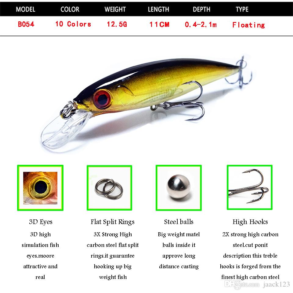 Fishing Floating Minnow Lure 11CM 12.5G Artificial Hard Bait Fishing Wobbler Crankbait Japan Pesca Tackle