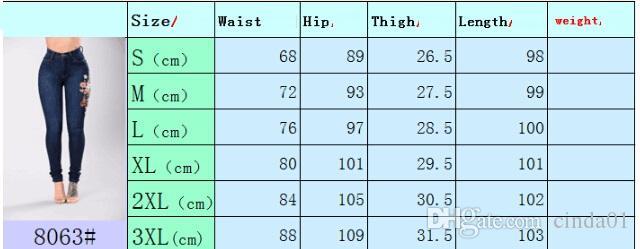 3XL Kadın Denim Çiçek Nakış Yüksek Stretch Jeans Big Yard Işık Lacivert Tayt Pantolon Yüksek Bel Pantolon