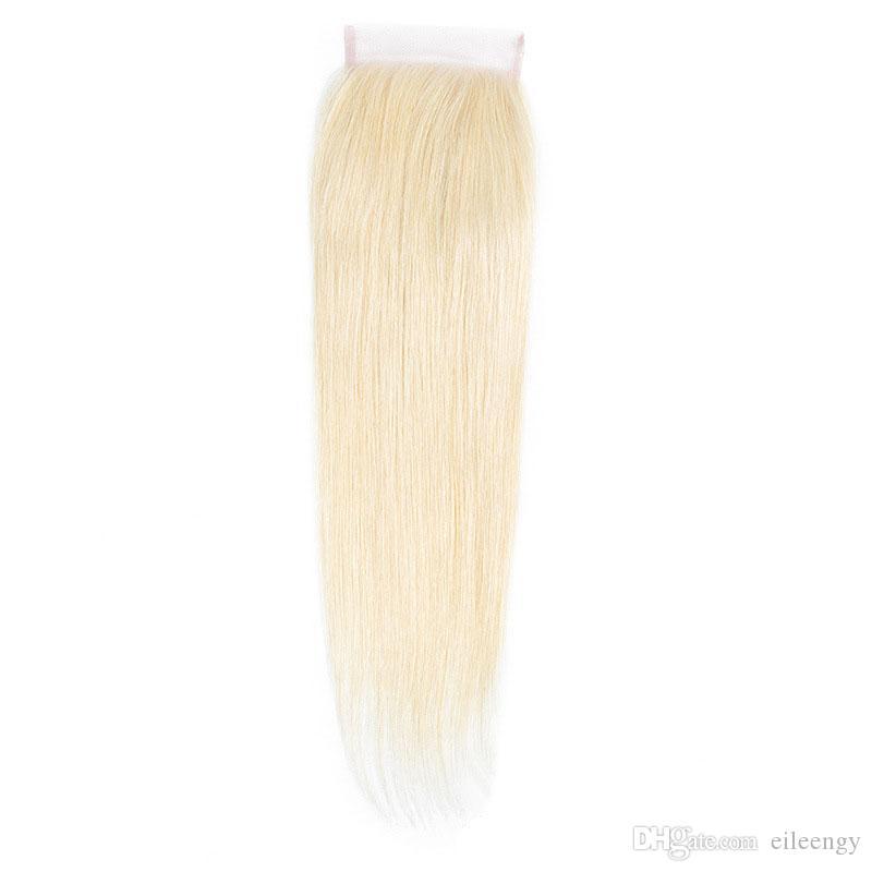 Brasilianisches Menschenhaar 4X4 Spitzeschliessen Mittelfrei Drei Teil 613 # Glattes Haar Blonde Gerade Haar 613 #