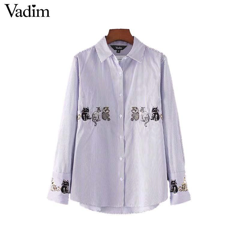0484fc84a 2019 Vadim Women Cute Cats Embroidery Shirt White Striped Long Sleeve  Blouse Turn Down Collar Ladies Work Wear Tops Blusas LT2350 From Matilian,  ...