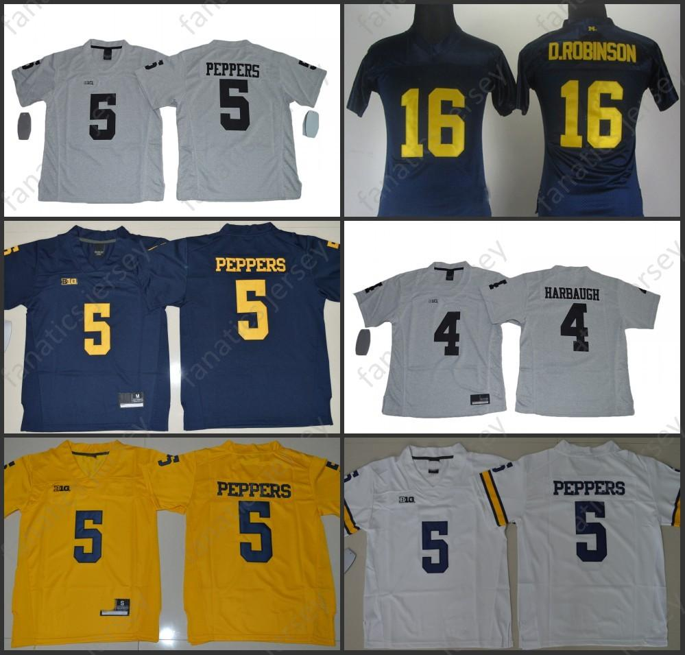 Michigan Wolverines Jersey NCAA College Football 16 Denard Robinson 5  Jabrill Peppers 4 Jim Harbaugh Women Kid Youth Jersey Online with   29.59 Piece on ... c81a955eb