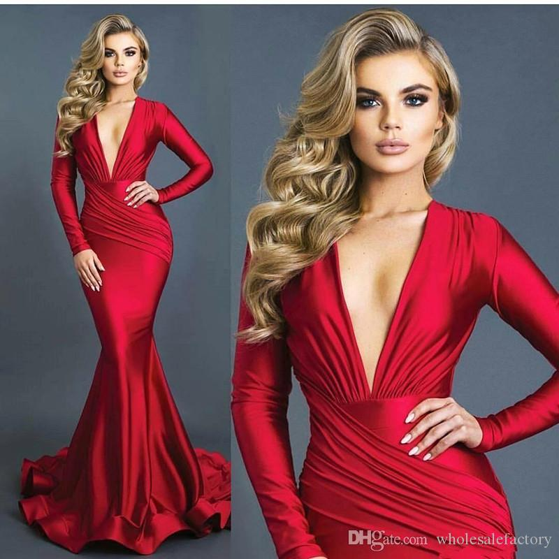 Sexy Red V Neck Long Sleeves Mermaid Evening Dresses Ruched Sweep Train Formal Prom Party Dresses