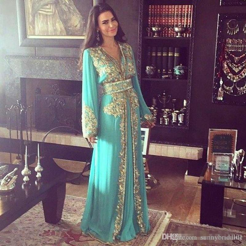 2018 Arabic Dubai Evening Dresses A Line Long Sleeves Gold Appliques Sequins V Neck Prom Dress Kaftans Party Gowns BA6945