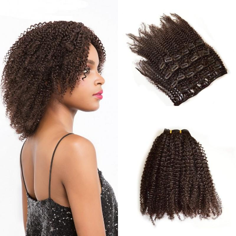 Indian Remy Afro Kinky Curly Hair Clip In Human Hair Extensions 120g
