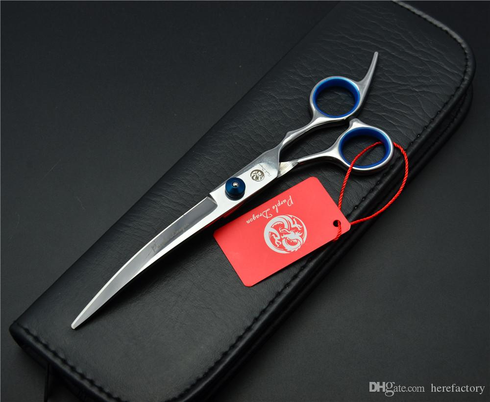 """Z4001 6.0"""" Japan Purple Dragon Professional Pets Hair Scissors Dog Flur Clipping Shear Down Curved Cutting Shears Scissors for Dog Grooming"""