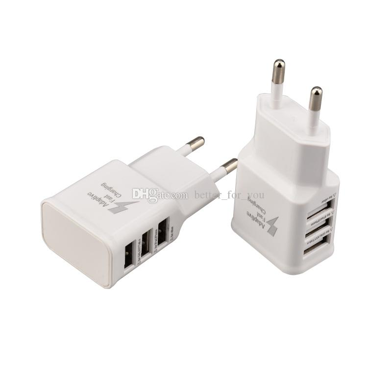 Universal 5V 2A 3 USB Ports EU Plug Wall Charger Adapter For Samsung galaxy i7 iX mobile phone white color