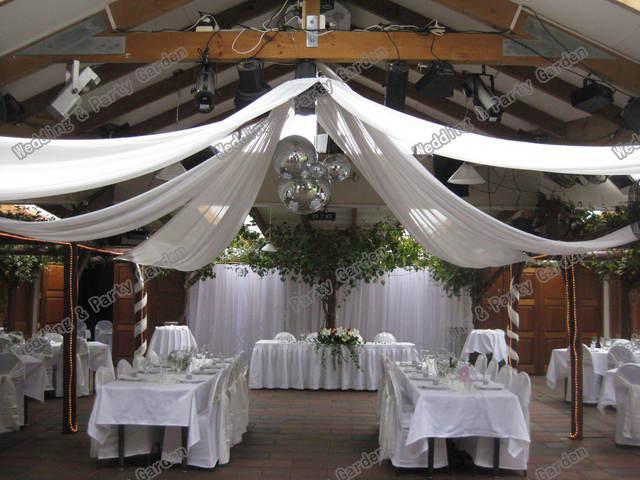 Acheter Mariage 10 Pieces De Plafond Drape Canopy Draperie Pour
