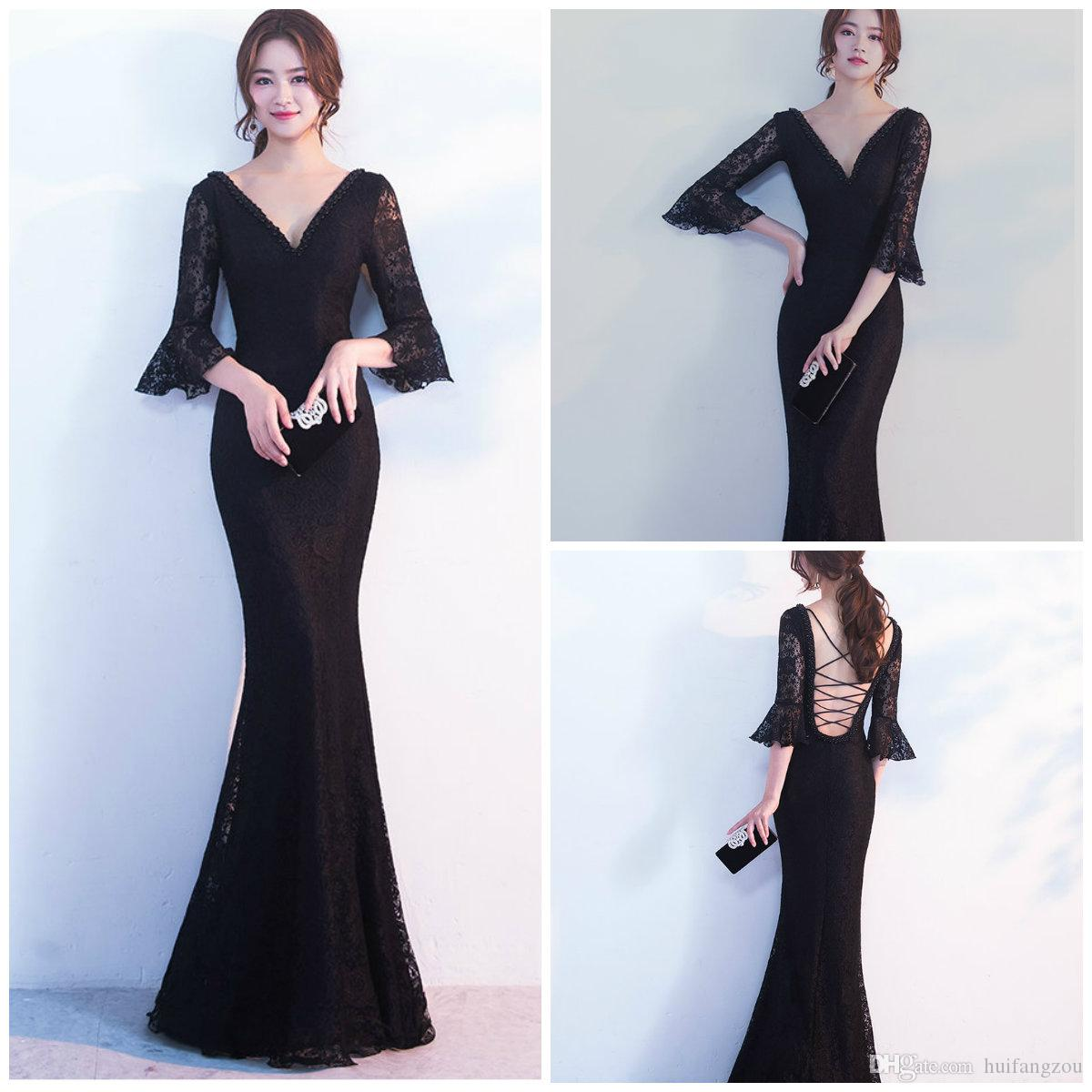 f695ab0baa3 Full Lace Mermaid Prom Dresses Sexy Cross Straps Back Design Floor Length  Evening Gowns V Neck Half Sleeve Formal Party Dresses Dress Womens Dresses  Evening ...