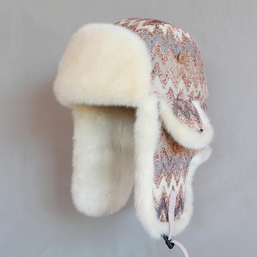 9be3a343dd5 Winter Women Bomber Hat Wool Knitted Hat Russian Ushanka Thicken Warm Plush  Snow Cap Earflaps Trapper Hats Trapper Hat Womans Bomber Hat Bomber Hat  Online ...