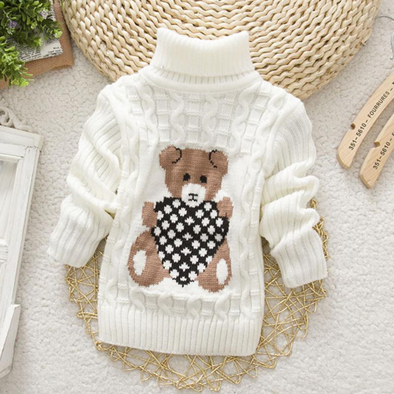 1 2 3 Year Baby Sweaters Knitted Turtleneck Autumn Winter Kids