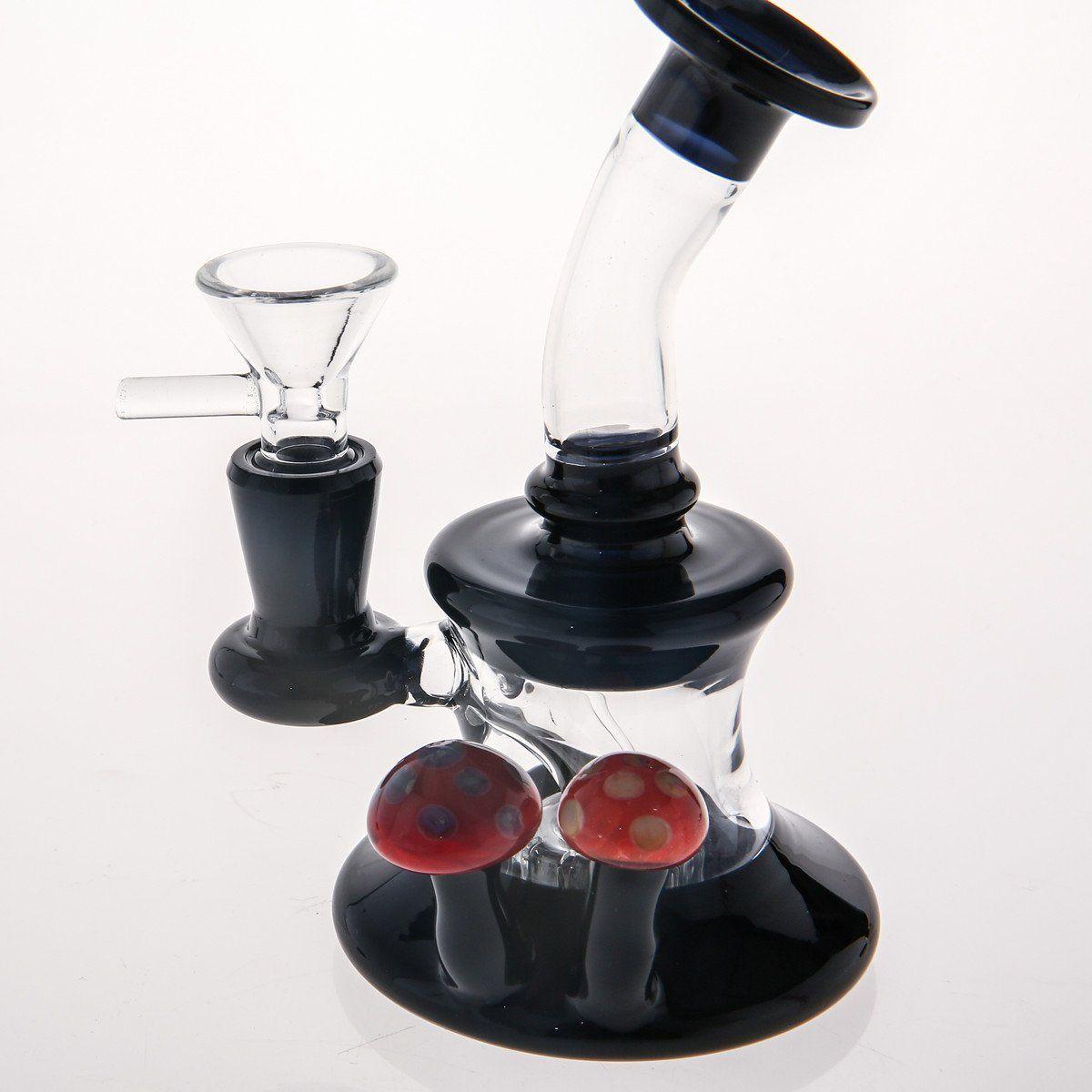 15cm Mini Black Glass Pipe Match 14.4mm Free Glass Bowl Lovely Double Mushroom Glass Bongs Beaker Two Function Hookah Dab Rig Water-Bong