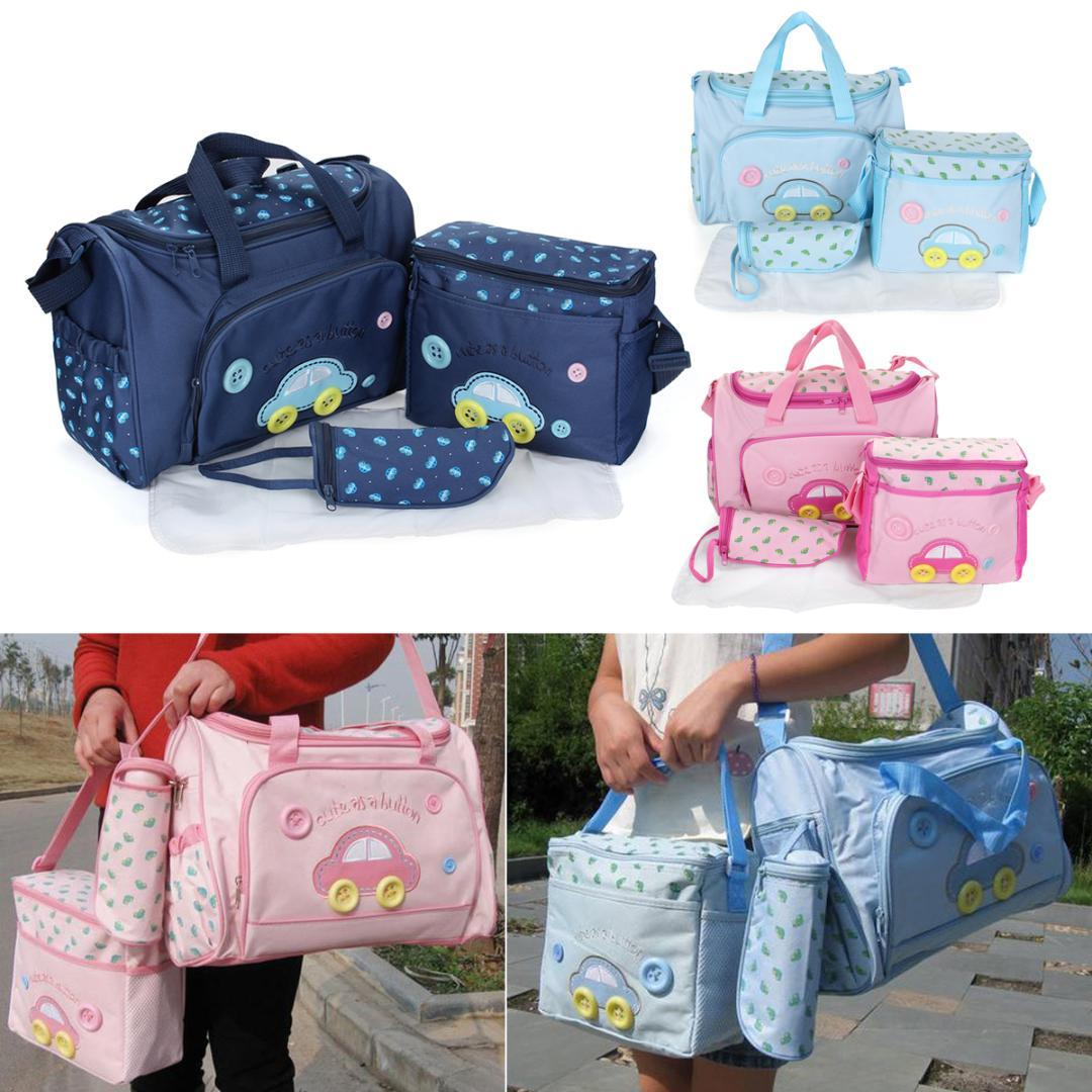 4PCS Maternity Mummy Baby Changing Bag Nappy Diaper Mat Set Wipe Clean Black Baby Carriers/Backpacks