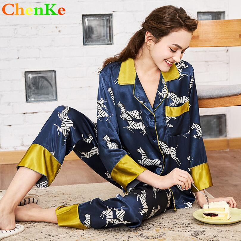 c387544162 2019 ChenKe Women Pajamas Silk Satin Pajamas Set Zebra Print Long Sleeve  Sleepwear Set Suit Insert Color Two Pieces From Gor2don