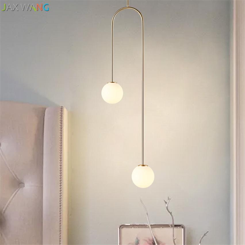 Nordic schlafzimmer nacht u geformt hängende pendelleuchten moderne lampen  esszimmer wohnzimmer bar led glaskugel warm de fixtures