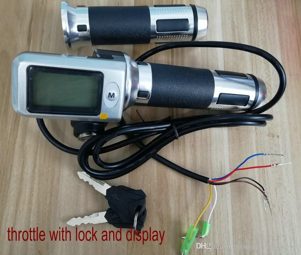 Poignées de guidon laminoir à manette des gaz pour le tricycle de scooter électrique de vélo électrique MTB 36V48V60V avec verrouillage / clé / CROUSESPED