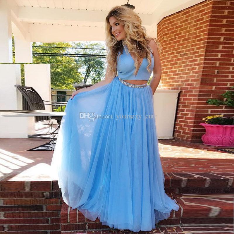 9877eba23747 Plus Size Two Piece Evening Dresses High Neck Satin Tulle Beaded Floor  Length Long Prom Dresses Light Sky Blue Party Dresses Turquoise Evening  Dresses ...