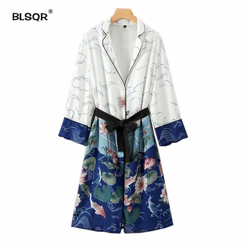 Mode Oberbekleidung Öffnen Schärpen Langarm Lange Lose Beiläufige Tops Blumenmuster Kimono Mantel Stich Fliege 2018 Damen XiPkuOZT
