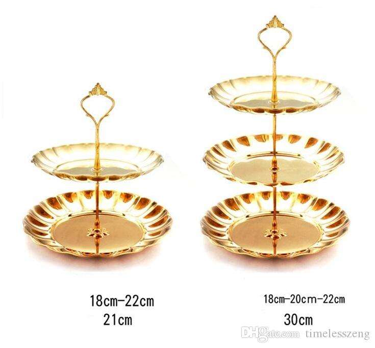 Gold silver stainless steel round cake stand wedding birthday cake rack home creative nut candy pastry plate party supplies free ship
