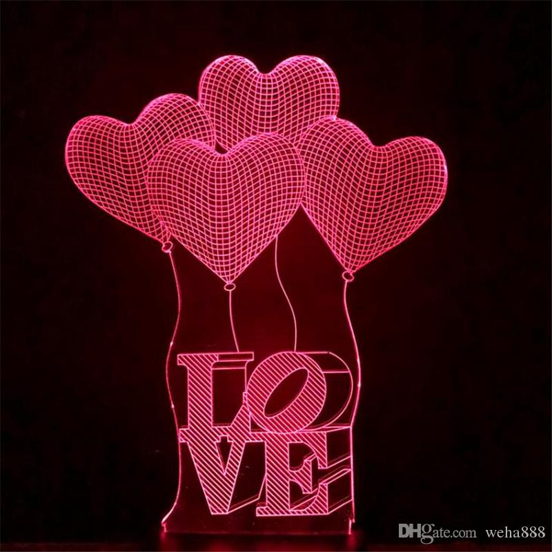 2017 Valentine's Day LOVE 3D lights colorful touch visual stereo lapm energy-saving gradient table lamp night light