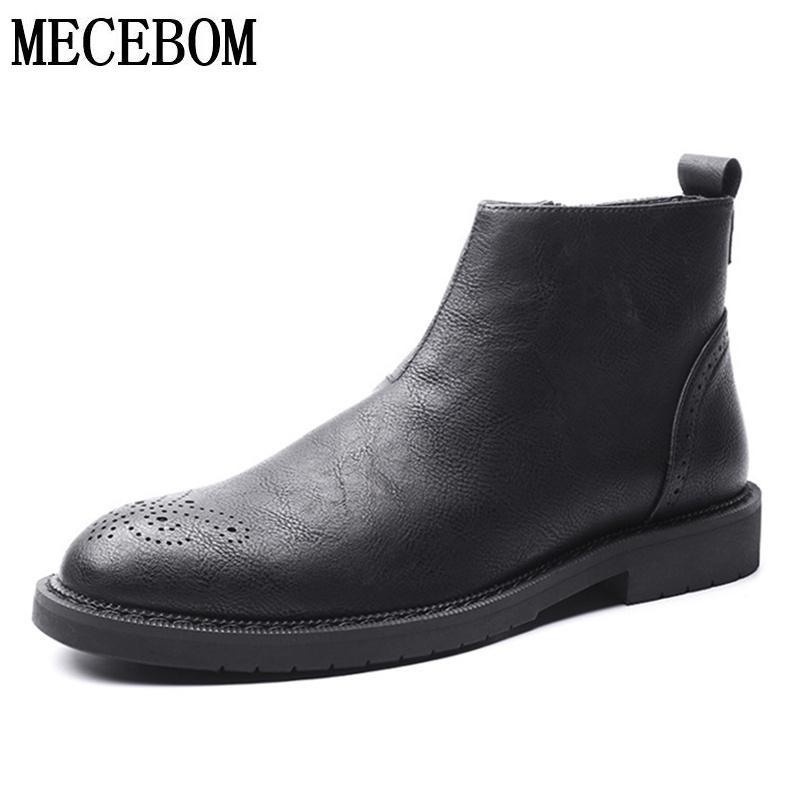c3f722700c3 Acheter Hommes De Luxe Chelsea Boots Marque Split Cuir Hommes Chaussures  Noir Zip Slip On Hommes Bottines Automne Botas Hombre Taille 38 44 8081M De   48.24 ...