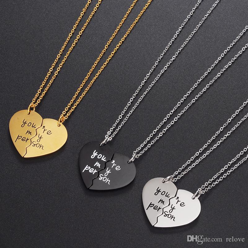 1da4908d453b Wholesale You Are My Person Stitching Broke Heart Necklace Fashion  Stainless Steel Heart Pendants For Women Lovers Jewery Gift Wholesale  Jewelry Name ...