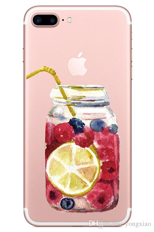Transparent Soft Tpu Case for Iphone X 7 8 6 plus Samsung Galaxy S7 edge s8 Note Fruits Juice Bottle Lemon Watermelon Silicone Skin Cover