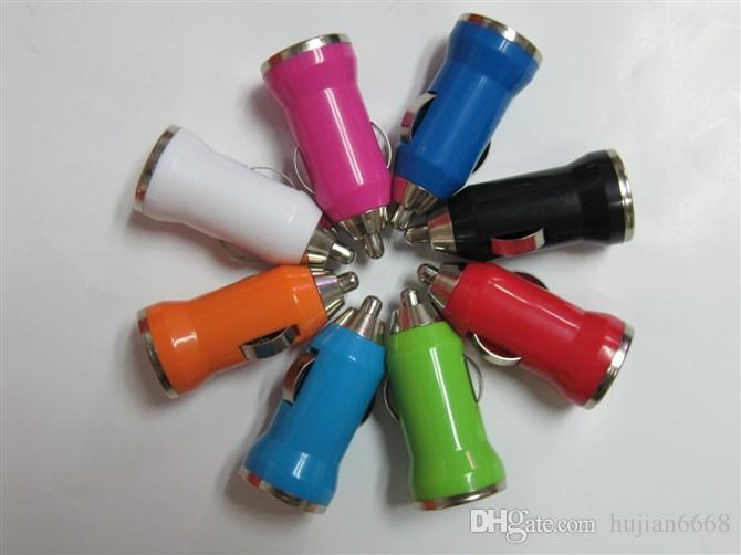 Colorful Bullet Mini USB Car Charger Universal Adapter for iphone 4 4S 5 5S 5C 6 6G 6S Samsung Galaxy S3 S4 S5 5 Cell Phone P