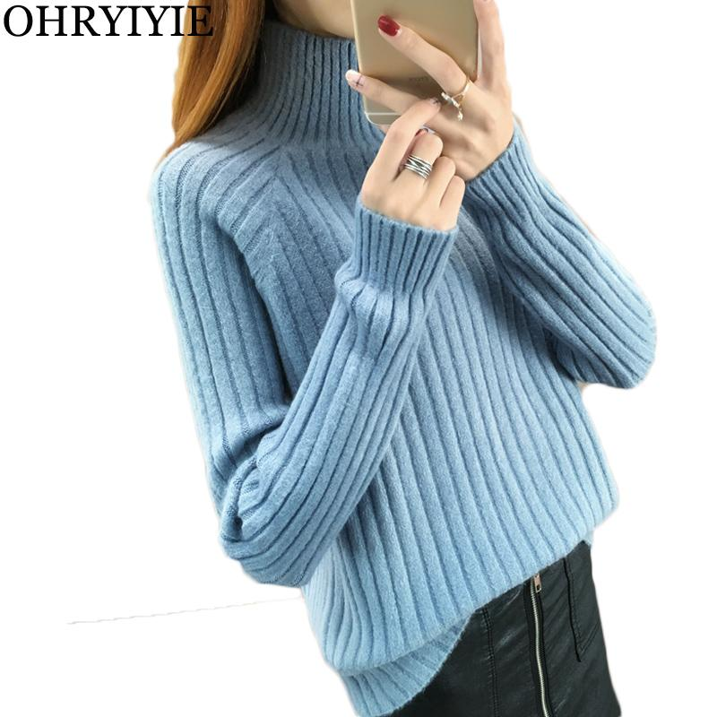 2f71b32415 OHRYIYIE Blue Long Sleeve Knit Pullover Sweater Women 2018 Autumn Winter  Turtleneck Ribbed Sweaters Female Thick Warm Basic Tops