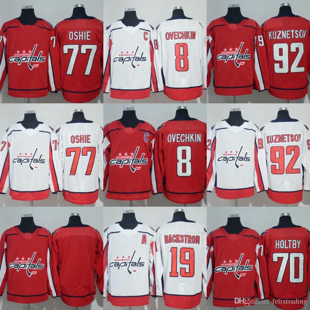 best sneakers 327d3 81bc6 19 Nicklas Backstrom Jersey 2018 Season 8 Alex Ovechkin 77 T.J. Oshie 92  Evgeny Kuznetsov 70 Braden Holtby Washington Capitals Jerseys