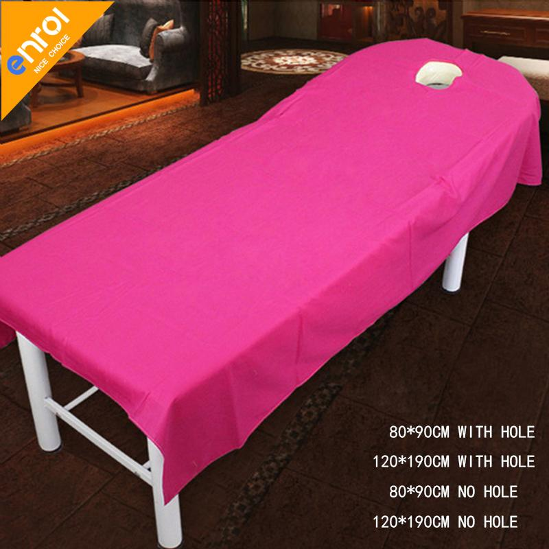 Beauty Salon Spa Massage Bed Sheet 80x190/120x190cm Cottonwaterproof Oil  Proof Plain Flat Sheet Table Cover Bed Sheets With Hole Quilted Coverlets  Coverlets ...