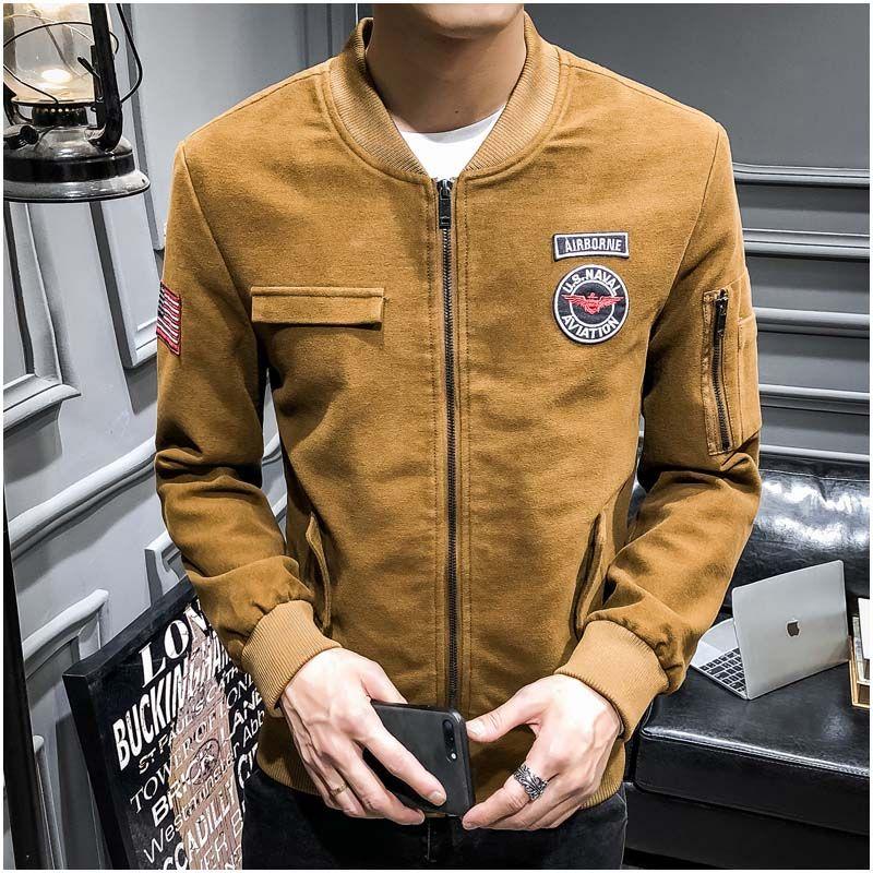 10c520bd KunYuLang mens casual bomber jacket classic design windbreak coats outwear  yellow/green/blue size M~3XL 1901