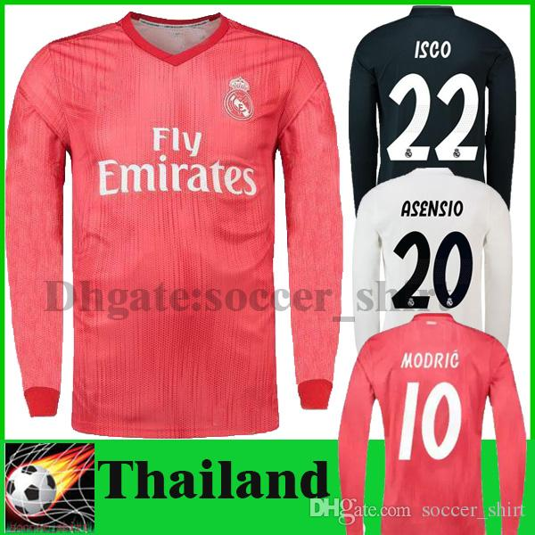 8dbbb504c1f 2019 2019 Real Madrid ASENSIO Long Full Sleeve Home Soccer Jersey 18 19 Away  Black Soccer Shirt BALE ISCO Third Red SERGIO RAMOS Football Uniform From  ...