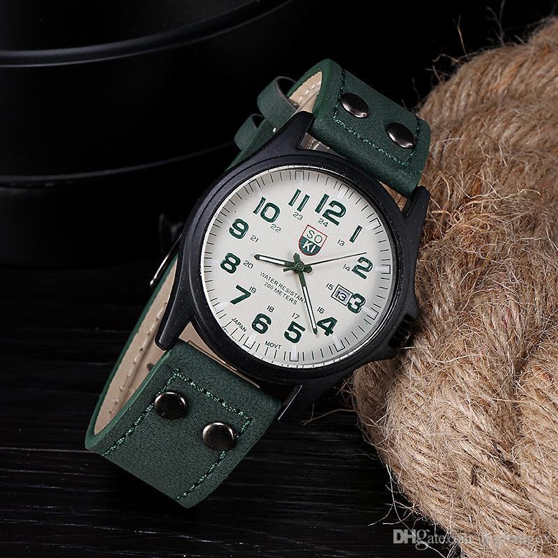 a697d751c1a2 Compre Nueva Marca SOKI Reloj Para Hombre Reloj New Mans Reloj Para Hombre  Fecha Correa De Cuero Reloj Deportivo Reloj De Cuarzo Militar Vintage  Clásico ...