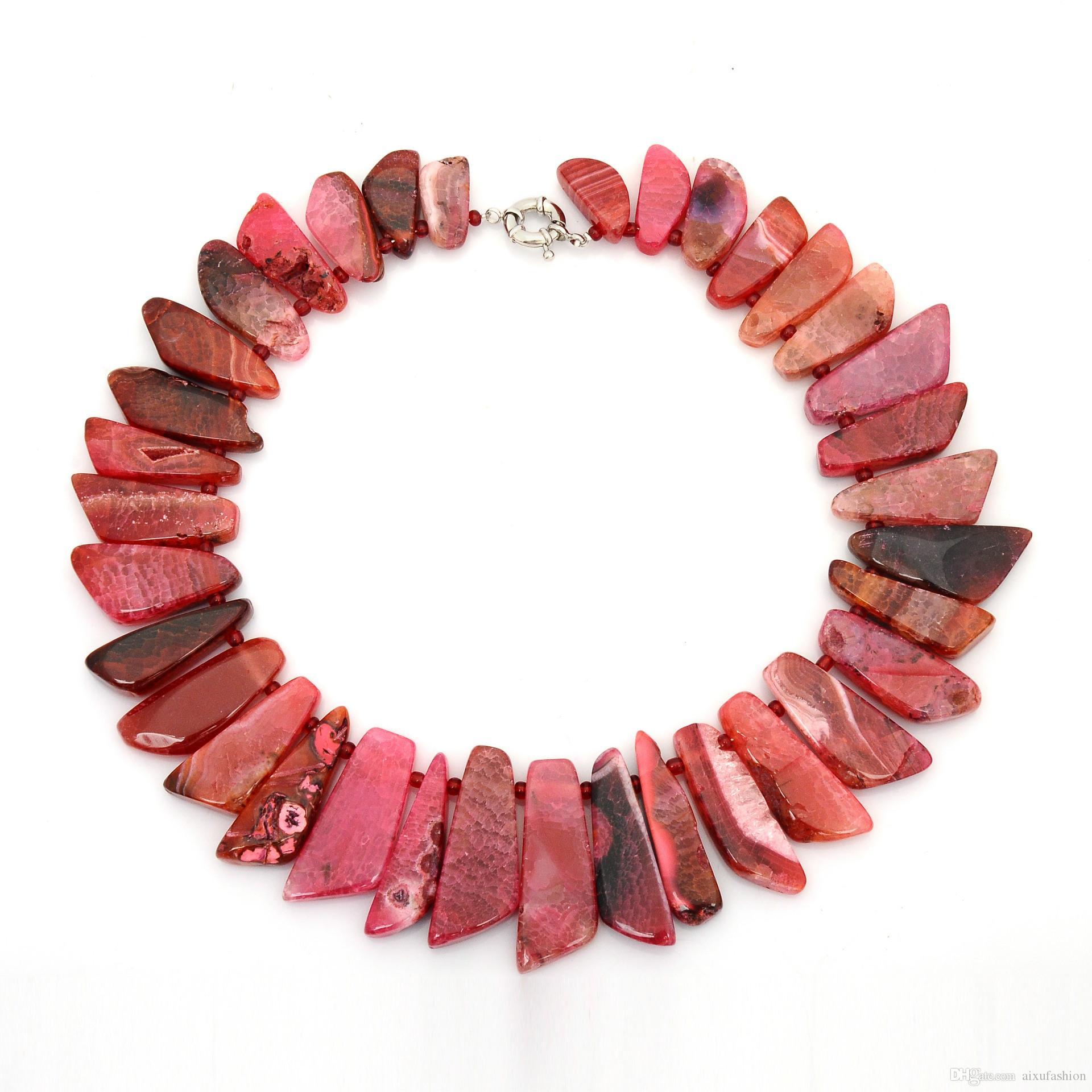 Collares del encanto de piedra natural forma del cuchillo collar de cuentas de piedra de ágata natural es mujeres de la manera regalos de la joyería del ahogador