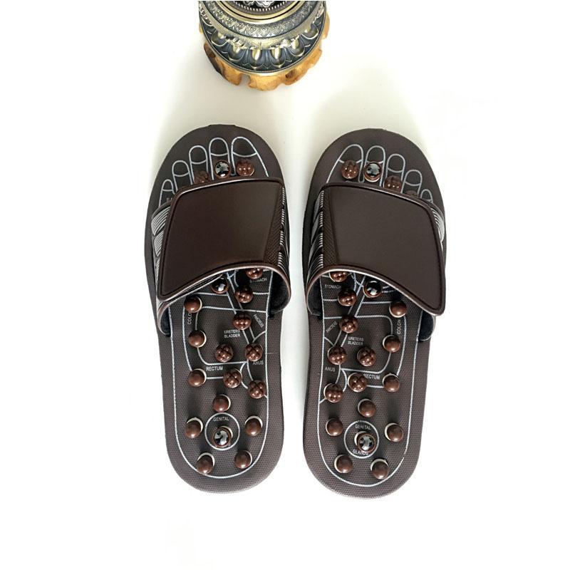 0f80714631d713 Nova Sandália Massagem Reflex Reflexos Chinelos Acupuntura Cuidados Com Os  Pés Massageador Magnético Terapia Magnética pedra sapatos para Homens ...