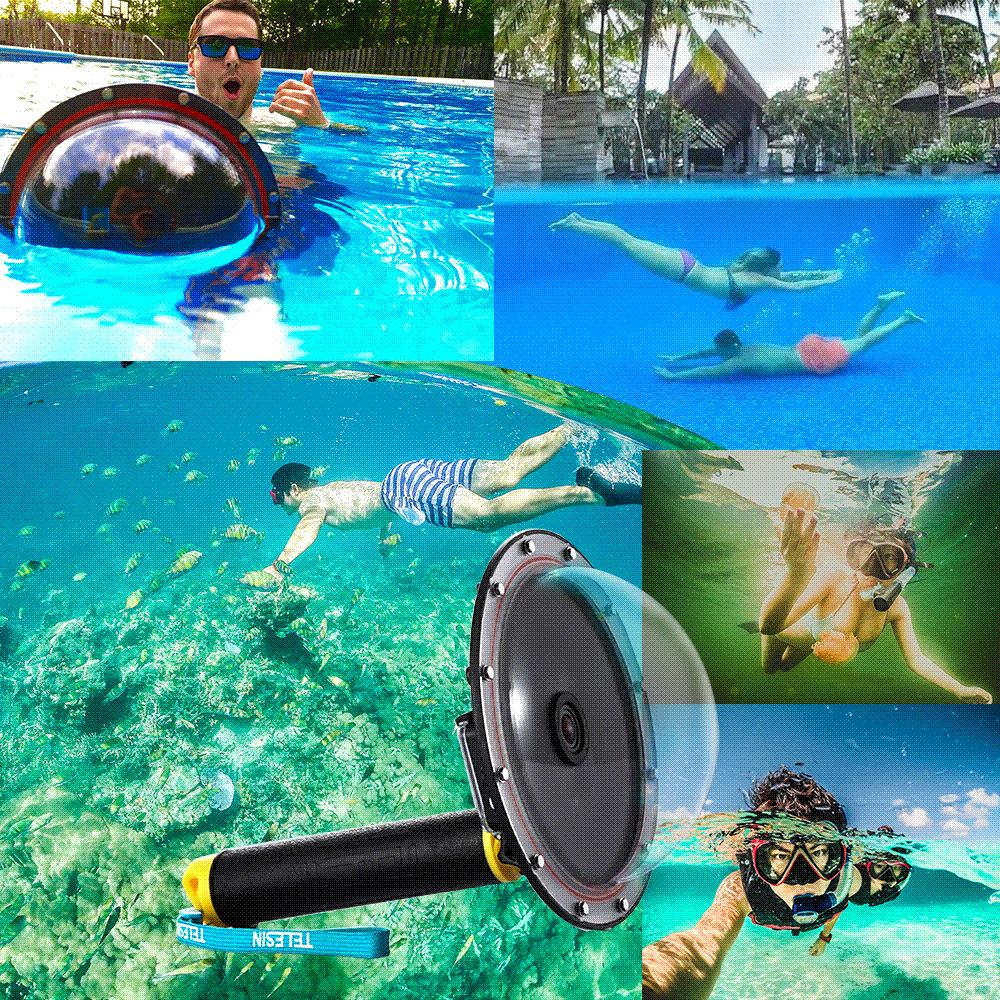 Best Quality Telesin 6 Dome Port Waterproof Case Floating Trigger For Gopro Hero 4 3 Lens Cover Housing Accessories At Cheap Price