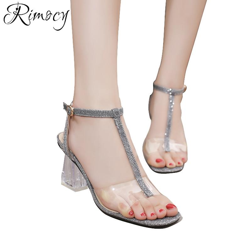 Wholesale Sexy T Strap Gold Silver Glitter Transparent Patchwork Sandals  Women Square High Crystal Heels Summer Shoes Woman Casual Ladies Sandals  Girls ... 4e7c28d19399